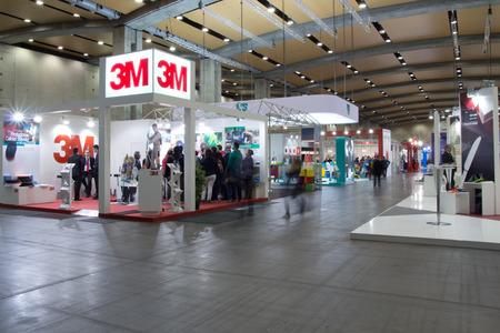 VALENCIA, SPAGNA - 5 febbraio 2014: Lo stand 3M al Hygienalia Pulire Pulizia e Igiene Convenzione e spettacolo a Valencia. Editoriali
