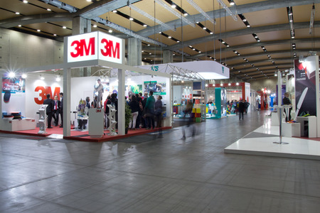 exhibit: VALENCIA, SPAIN - FEBRUARY 5, 2014: The 3M booth at the Hygienalia Pulire Cleaning and Hygiene Convention and show in Valencia.