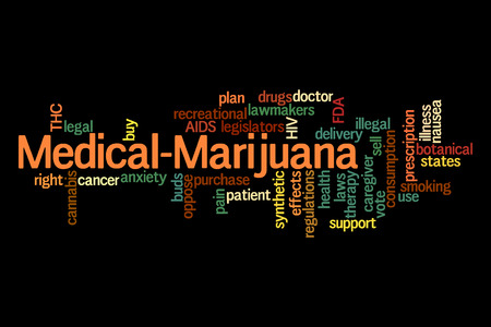 Medical Marijuana word cloud on black  photo