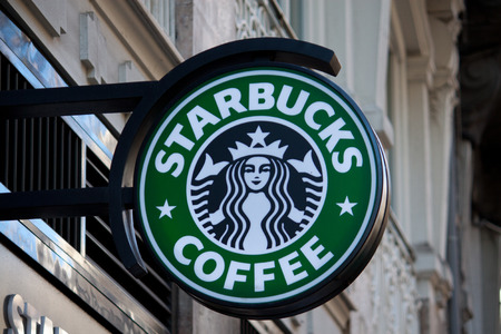 VALENCIA, SPAIN - JANUARY 27, 2014: Exterior of a Starbucks Coffee coffeehouse. Starbucks is the largest coffeehouse company in the world, with 20,891 stores in 62 countries (2013).