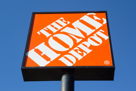 rival: JACKSONVILLE, FL-MARCH 8, 2014: A Home Depot sign in Jacksonville. The Home Depot is the largest home improvement retailer in the United States, ahead of rival Lowes.