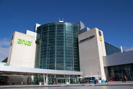 tonnes: LISBON, PORTUGAL - MAY 28, 2014: The main entrance of the Lisbon airport. In 2013, the Lisbon airport handled 16,024,955 passengers and 88,459 tonnes of cargo. Editorial