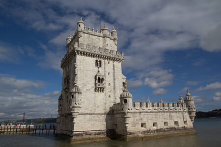 LISBON, PORTUGAL - MAY 28, 2014: The Belem Tower in Lisbon. The tower was built in the early 16th century and is a UNESCO World Heritage site.