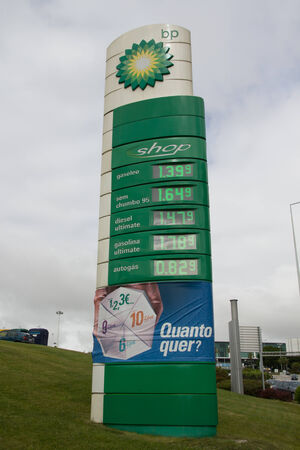LISBON, PORTUGAL - MAY 29, 2014: A British Petroleum gas sign in Lisbon. British Petroleum is a British multinational oil and gas company headquartered in London, England.