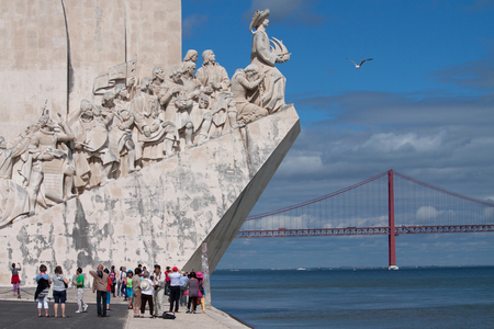conquistador: LISBON, PORTUGAL - MAY 28, 2014: Tourist visiting the Monument to the Discoveries in Lisbon. The monument celebrates the Portuguese Age of Discovery during the 15th and 16th centuries. Editorial