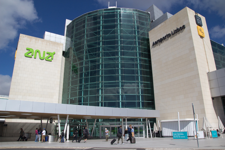 tonnes: LISBON, PORTUGAL - MAY 26, 2014: The main entrance of the Lisbon airport. In 2013, the Lisbon airport handled 16,024,955 passengers and 88,459 tonnes of cargo. Editorial