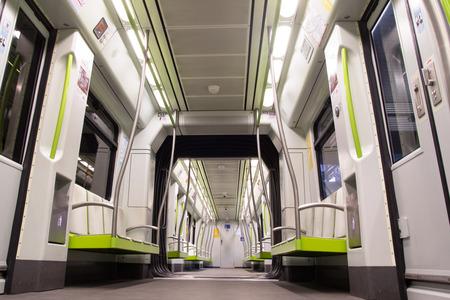 kilometres: VALENCIA, SPAIN - JUNE 9, 2014: Inside a Metro Valencia subway car in Valencia, Spain. The  metro network consists of more than 134 kilometres (83 mi) of track, of which 19 kilometres (12 mi) is below ground. Editorial
