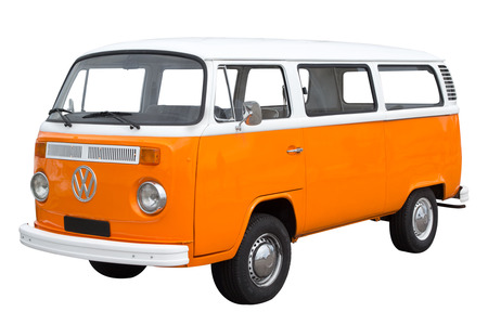 Classic Volkswagen Bus isolated on white