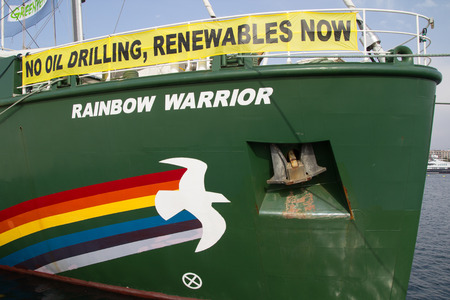 greenpeace: VALENCIA, SPAIN - JUNE 10, 2014: Greenpeaces vessel the Rainbow Warrior at the Port of Valencia. Greenpeace is a nongovernmental environmental organization with offices in over 40 countries. Editorial