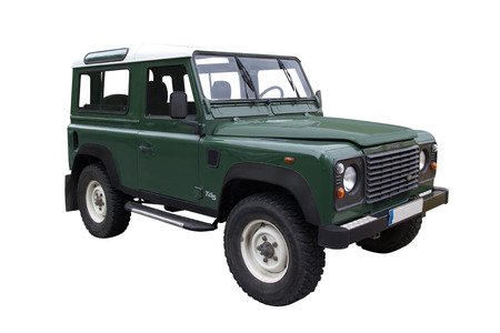 Green TD5 Defender Off Road Vehicle Editorial