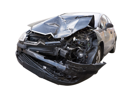 Front of Car in an Auto Accident isolated on white background photo