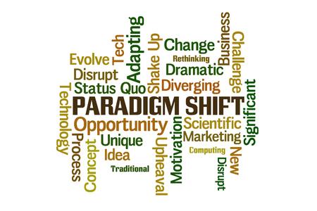 paradigma: Cambio de paradigma nube de la palabra en el fondo blanco