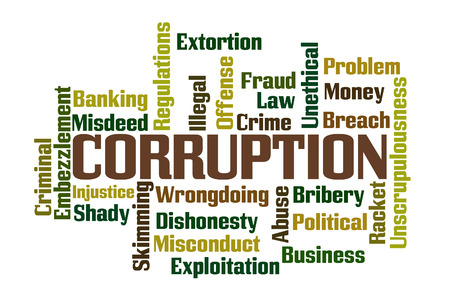 unethical: Corruption Word Cloud with White Background Stock Photo