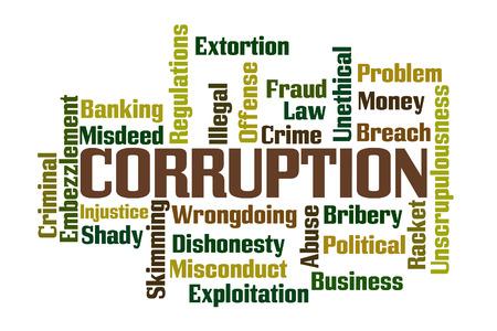 Corruption Word Cloud with White Background Archivio Fotografico