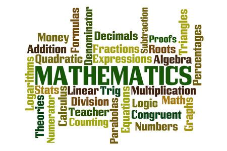 numerator: Mathematics word cloud on white background