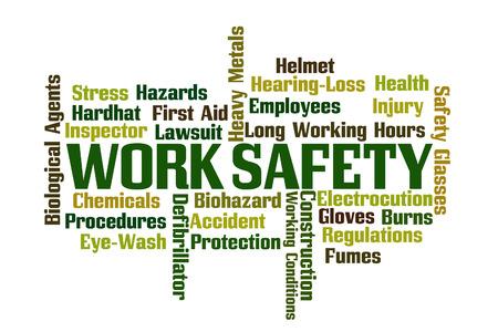 白い背景の上の仕事の安全単語雲
