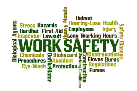 safety first: Work Safety word cloud on white background