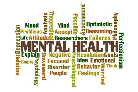 白い背景の上の精神的健康単語雲