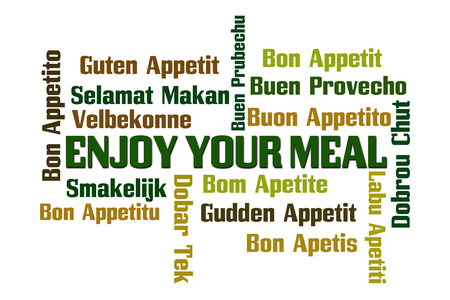 Enjoy Your Meal Word Cloud on White Background