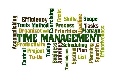 accomplishing: Time Management Word Cloud on White Background