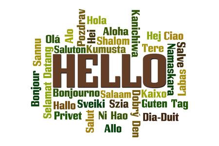 Hallo woordwolk in verschillende talen