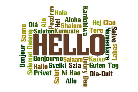 Hello word cloud in different languages photo