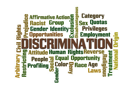 sex discrimination: Discrimination Word Cloud on White Background