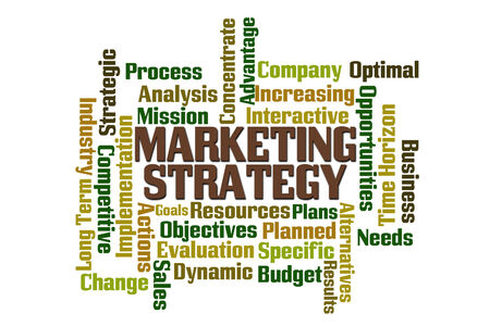 planned: Market Strategy word cloud on white background Stock Photo