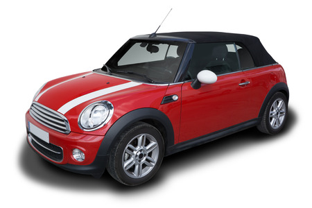 Red Mini Cooper Convertible car parked isolated on white background.