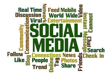 Social Media Word Cloud on White Background Фото со стока - 31035418