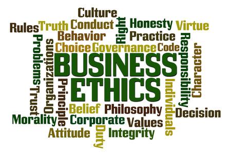 etica empresarial: �tica de Negocios Palabra Nube en el fondo blanco