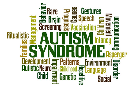 asperger: Autism Word Cloud with White Background Stock Photo