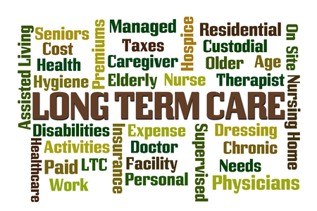 premiums: Long Term Care word cloud on white