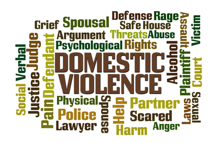 Domestic Violence word cloud on white background Stok Fotoğraf