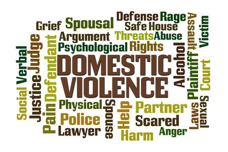 violencia intrafamiliar: Interno palabra Violencia nube sobre fondo blanco Foto de archivo