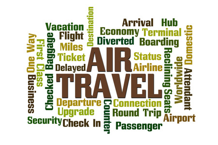 diverted: Air Travel Word Cloud on White Background