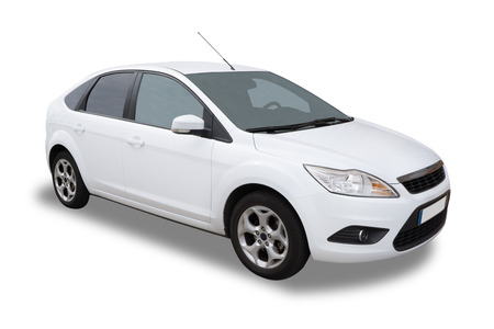White Four Door Car Isolated