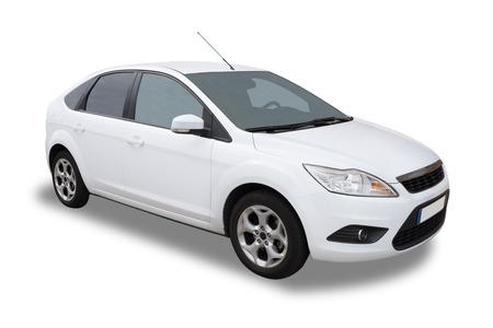Wit Vier Deur auto geïsoleerd Redactioneel