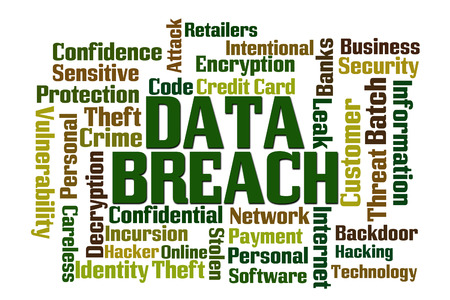 data theft: Data Breach Word Cloud with White Background