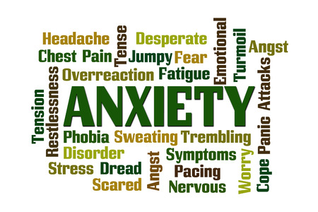turmoil: Anxiety word cloud on white background. Stock Photo