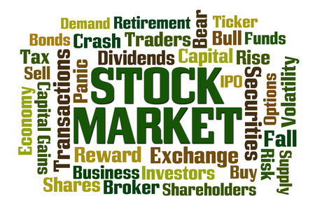 dividends: Stock Market word cloud on white background