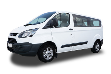 Big White Passenger Van Isolated on White Background.