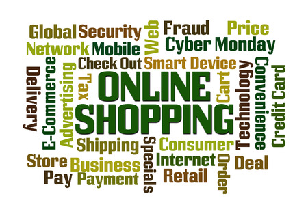 Online Shopping word cloud with white background photo