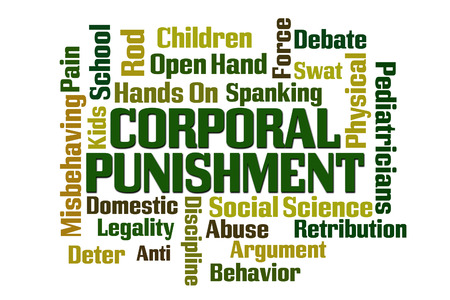 retribution: Corporal Punishment word cloud on white background.