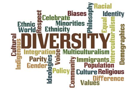 白い背景と多様性の単語雲