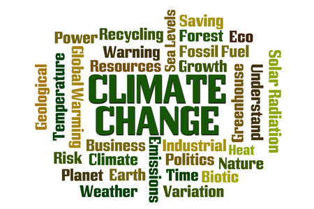Climate Change word cloud on white background Foto de archivo