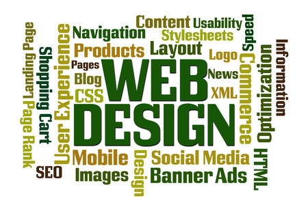 Web Design word cloud on white background photo