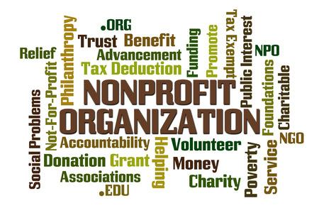 白い背景の上の非営利の組織単語の雲