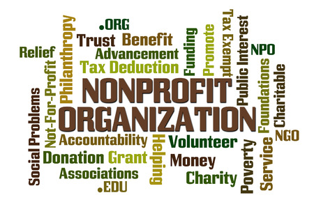 NonProfit Organization word cloud on white background Stock Photo