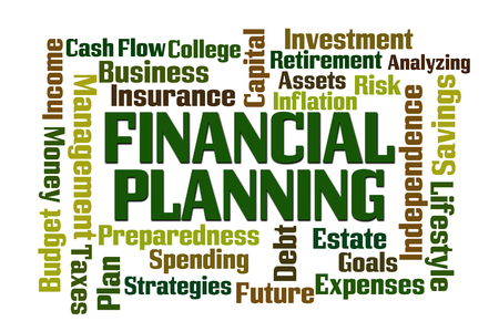 Financial Planning word cloud on white background photo